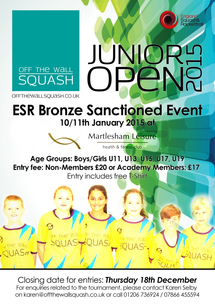 Register now for the Off the Wall Squash Junior Open 2015