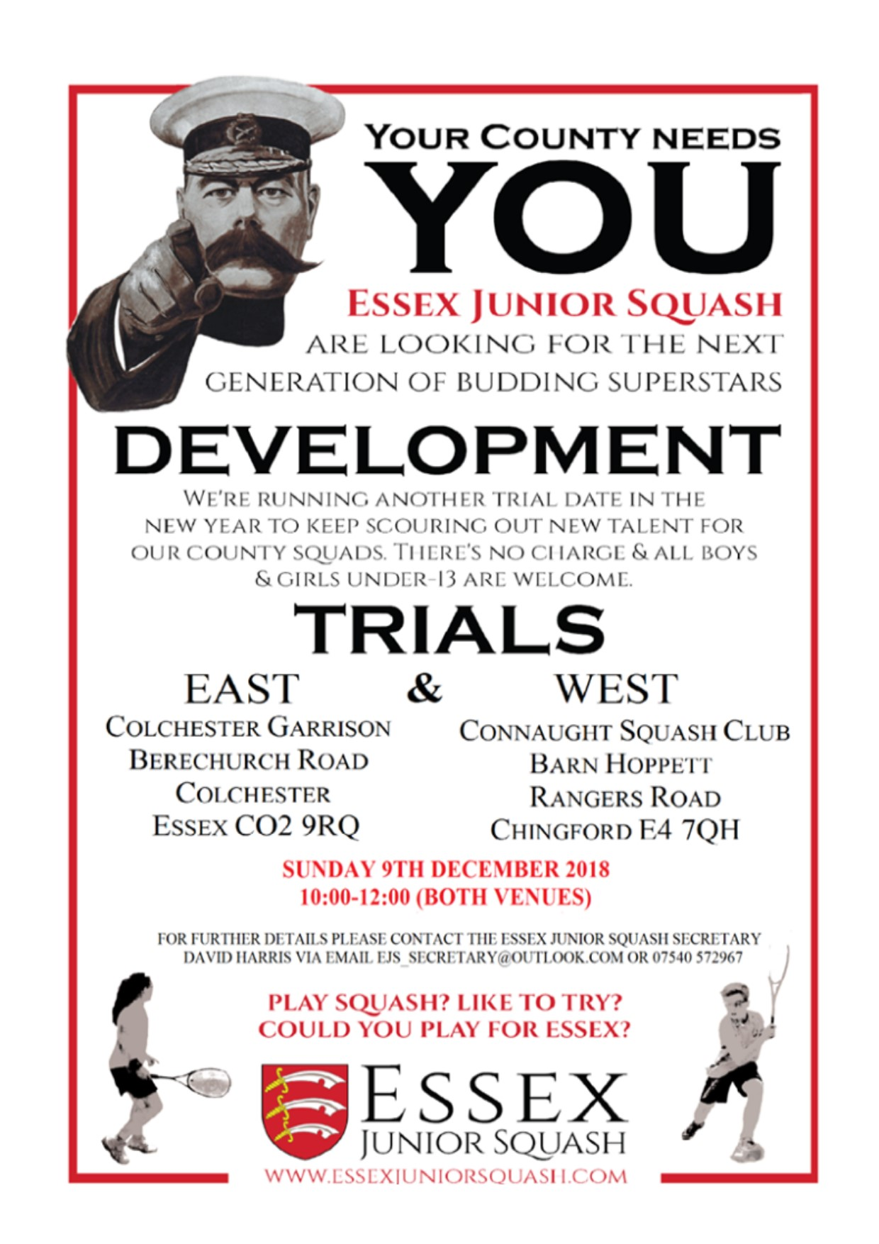 Come along to Essex junior squash trials on December 9th